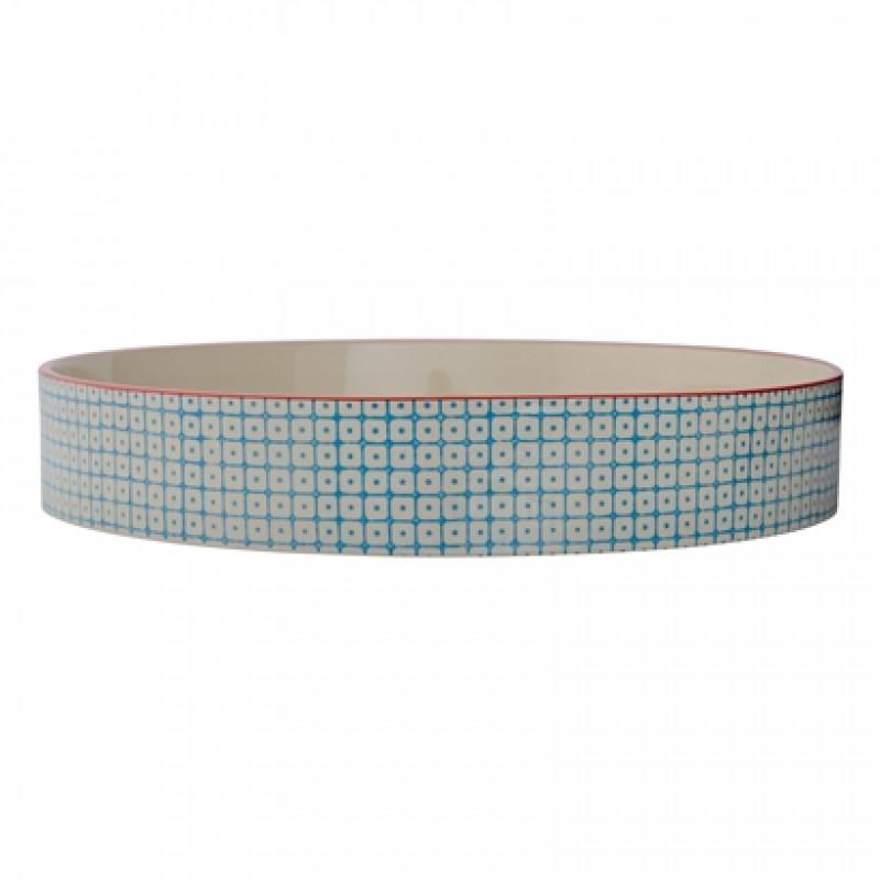 bloomingville carla tablett gro rund in blau mit rotem rand aus keramik im carla design. Black Bedroom Furniture Sets. Home Design Ideas