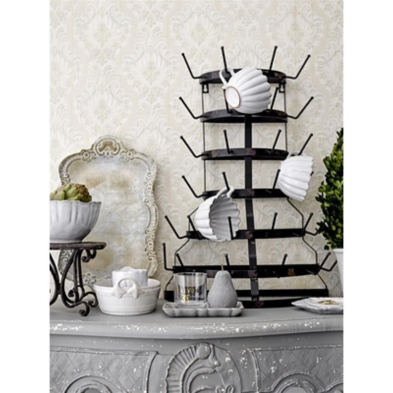 Bloomingville Chateau Tasse und Schale weiß aus Terracotta und Bloomingville Tablett Chateau aus Holz