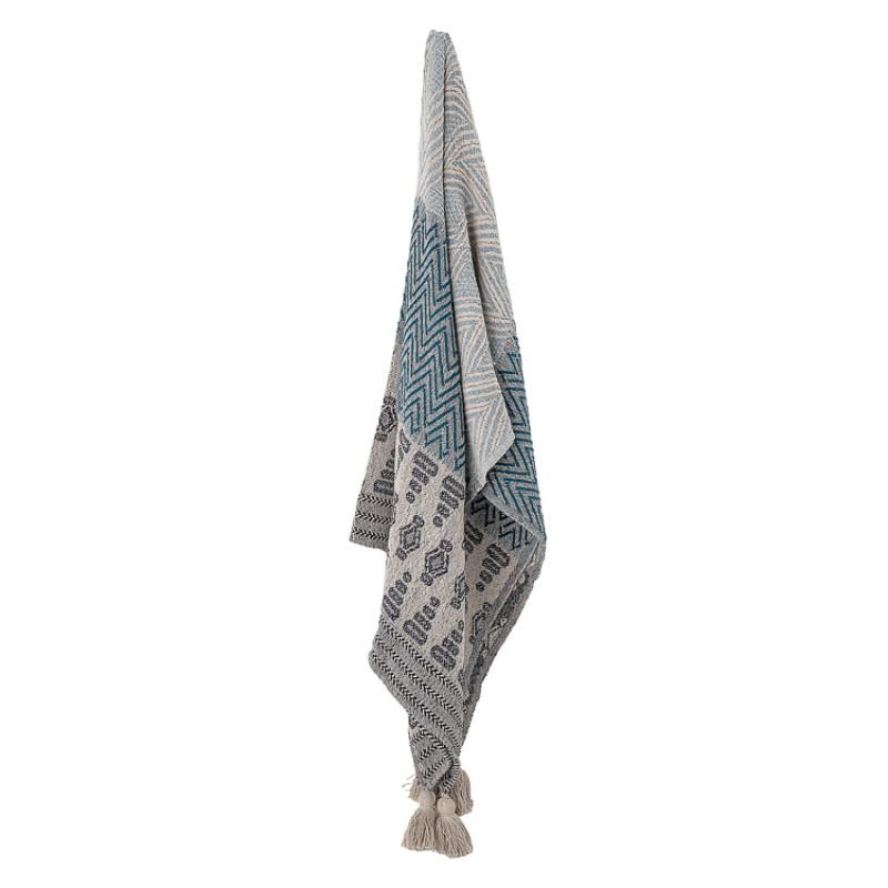 Bloomingville Decke Blau Grau Recycelt Baumwolle Wolldecke mit Bommeln hängend