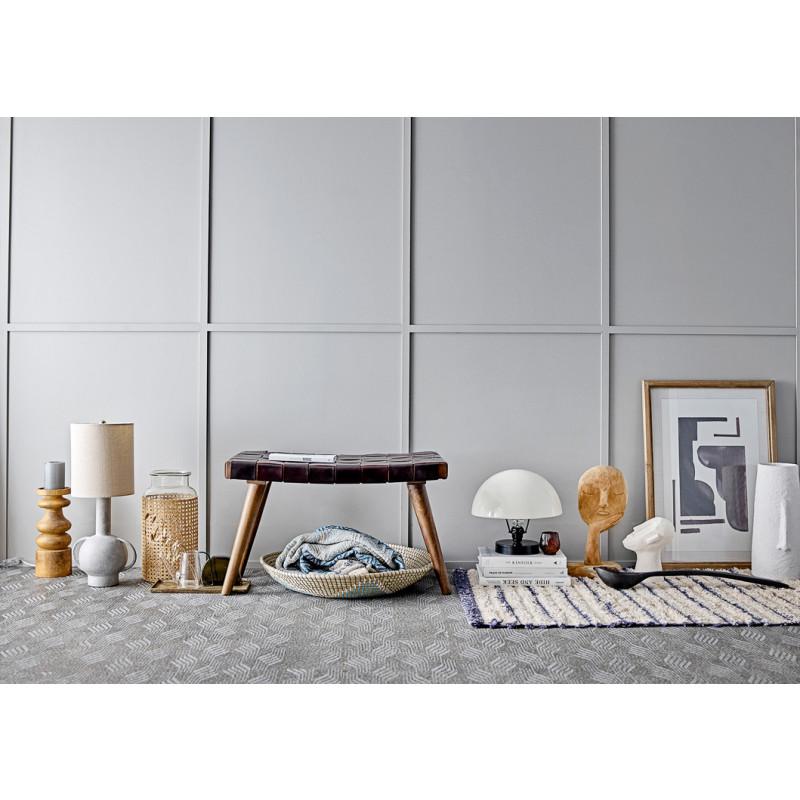 Bloomingville Decke Blau Grau Recycelt Baumwolle Wolldecke mit Bommeln moderne Ambient skandinavisches Design