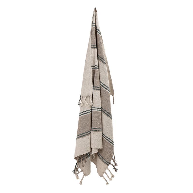 Bloomingville Decke Grau Braun Streifen mit Fransen Plaid angehängt