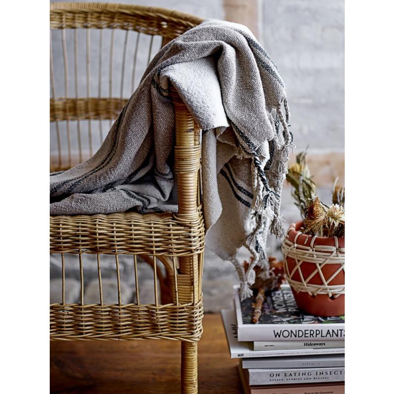 Bloomingville Decke Grau Braun Streifen mit Fransen Plaid Hygge Deko Stuhl oder Sessel