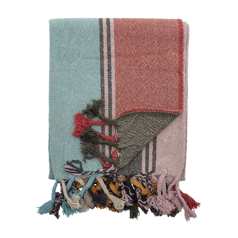 Bloomingville Decke Multi Color Gestreift Recycelt Baumwolle 130x160 cm Wolldecke Bloomingville Produkt Nummer 82048002