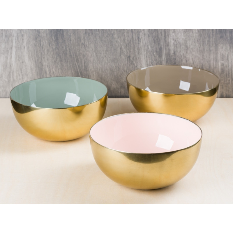 Bloomingville Deko Schale Aluminium gold außen innen rosa braun und grün 15 cm