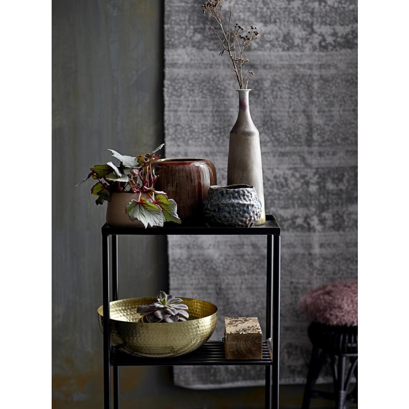 Bloomingville Deko Schale Gold aus Metall Schüssel Deko im Regal mit Vasen