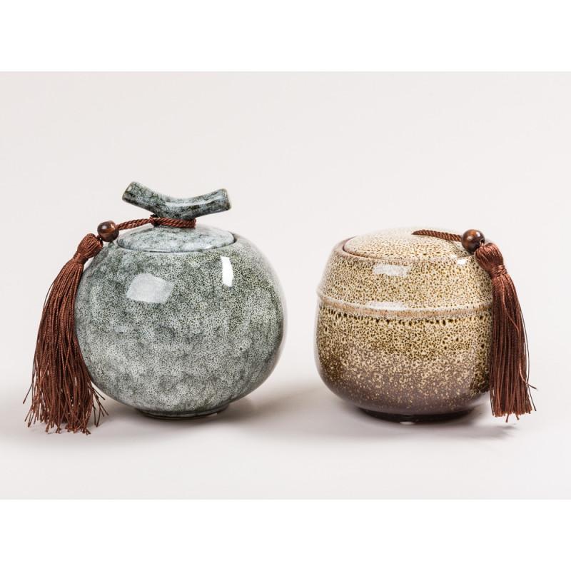 Bloomingville Dose Deckel mit Griff und Bommel Keramik Dose schwarz grau braun creme Schmuckdose