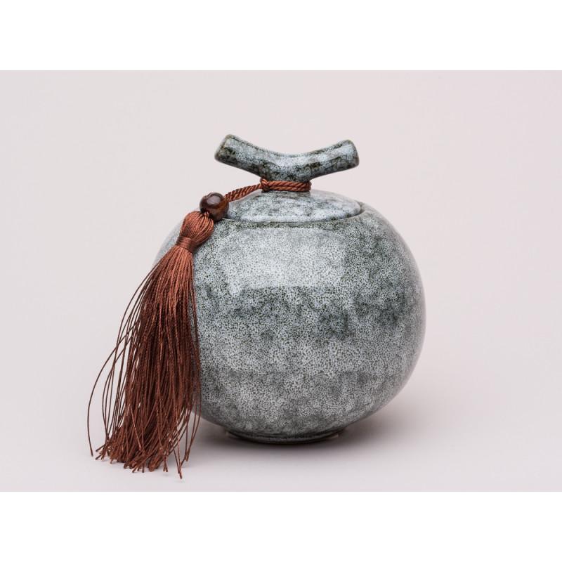 Bloomingville Dose Deckel mit Griff und Bommel Keramik Dose schwarz grau