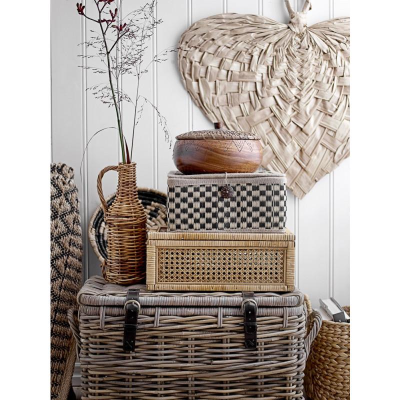 Bloomingville Dose mit Deckel Akazie Holz Rattan 24 cm Kisten in Fleckt und Holz Design
