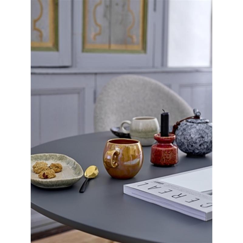 Bloomingville Dose mit Deckel grau schwarz Geschirr Paula und Kerzenhalter Keramik rot