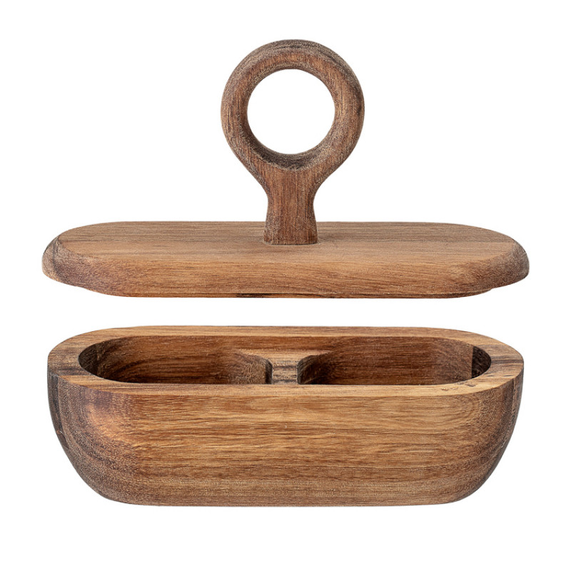 Bloomingville Dose oval Deckel mit Griff rund aus Akazien Holz Deckel offen