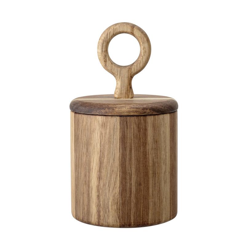 Bloomingville Dose rund Deckel mit Griff aus Akazien Holz 11x10 cm Salzdose