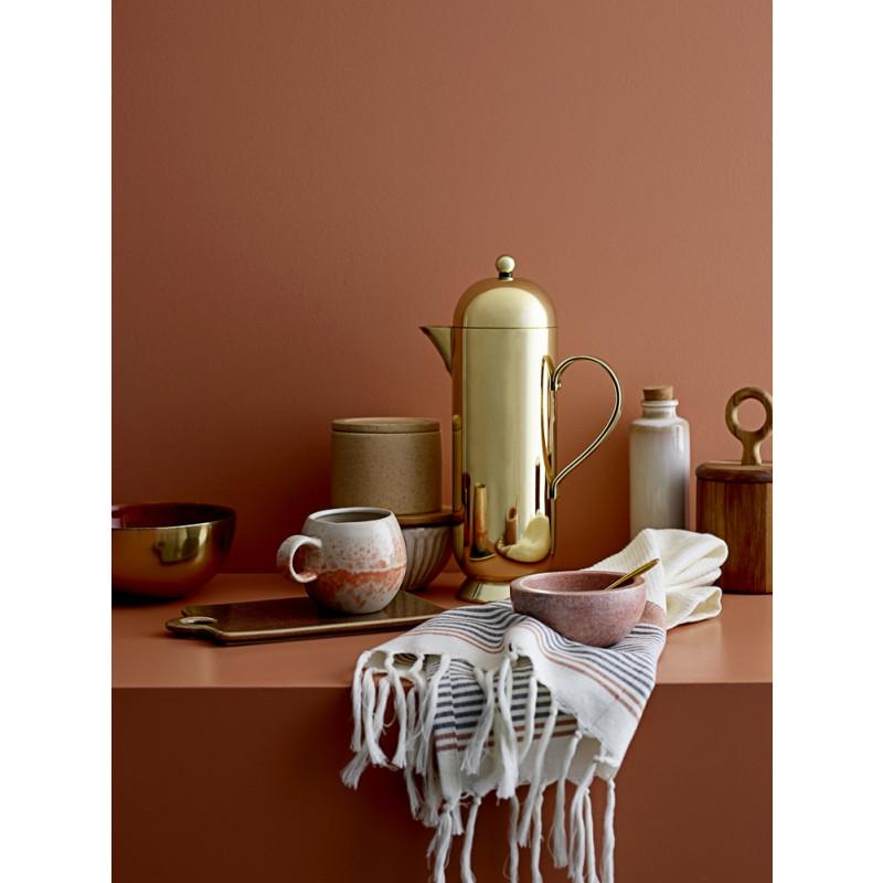 Bloomingville Dose rund Deckel mit Griff aus Akazien modern skandinavisch Materialmix