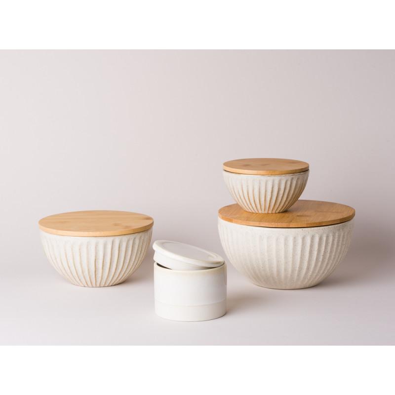 Bloomingville Dosen mit Holzdeckel und Dose klein Carrie Keramik creme