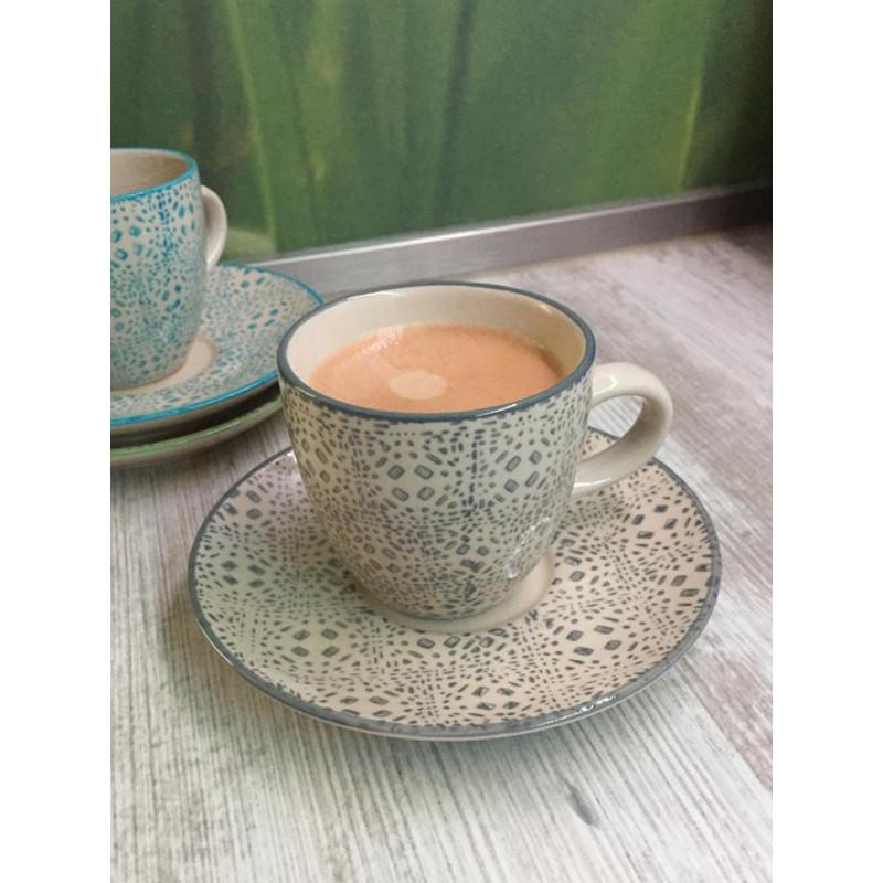 Bloomingville Espresso Tasse Grau mit Untertasse blau und grün Isabella Keramik Geschirr