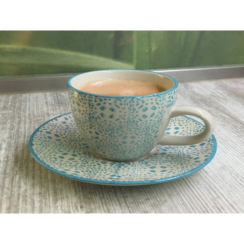 Bloomingville Espresso Tasse Isabella Keramik Geschirr 3er Set mit Untertassen Blau im Detail