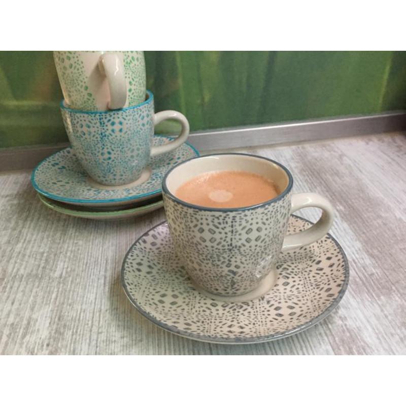 Bloomingville Espresso Tasse Isabella Keramik Tassen Grau grün und blau im 3er Set