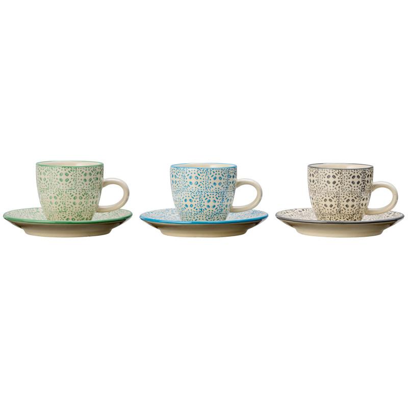 Bloomingville Espresso Tasse mit Untertasse Isabella Keramik Geschirr 3er Set