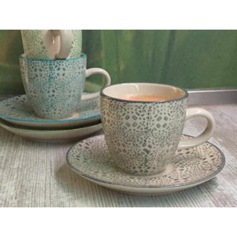 Bloomingville Espresso Tassen mit Untertassen Keramik Geschirr Design Isabella im 3er Set