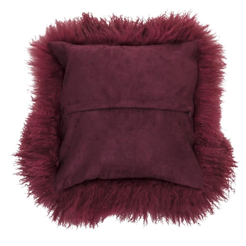 Bloomingville Fellkissen rot mongolisches Lammfell Kissen Rückseite mit Reißverschluß