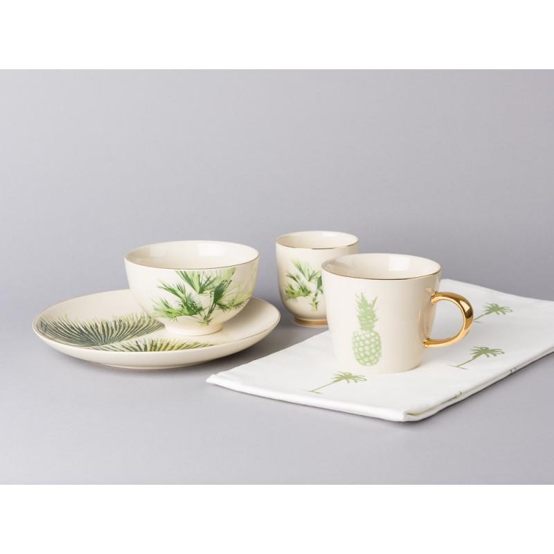Bloomingville Geschirr Aruba mit Goldrand Becher Goldhenkel Teller Kuchenteller Schale aus Keramik mit Ananas Palmen Blatt Geschirrtuch Palme