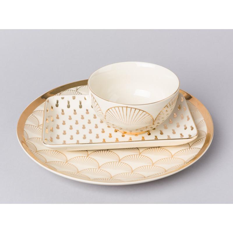 Bloomingville Geschirr Aruba mit Goldrand Tablett Teller Essteller und Müsli Schale aus Keramik mit Ananas Fächer Design gold