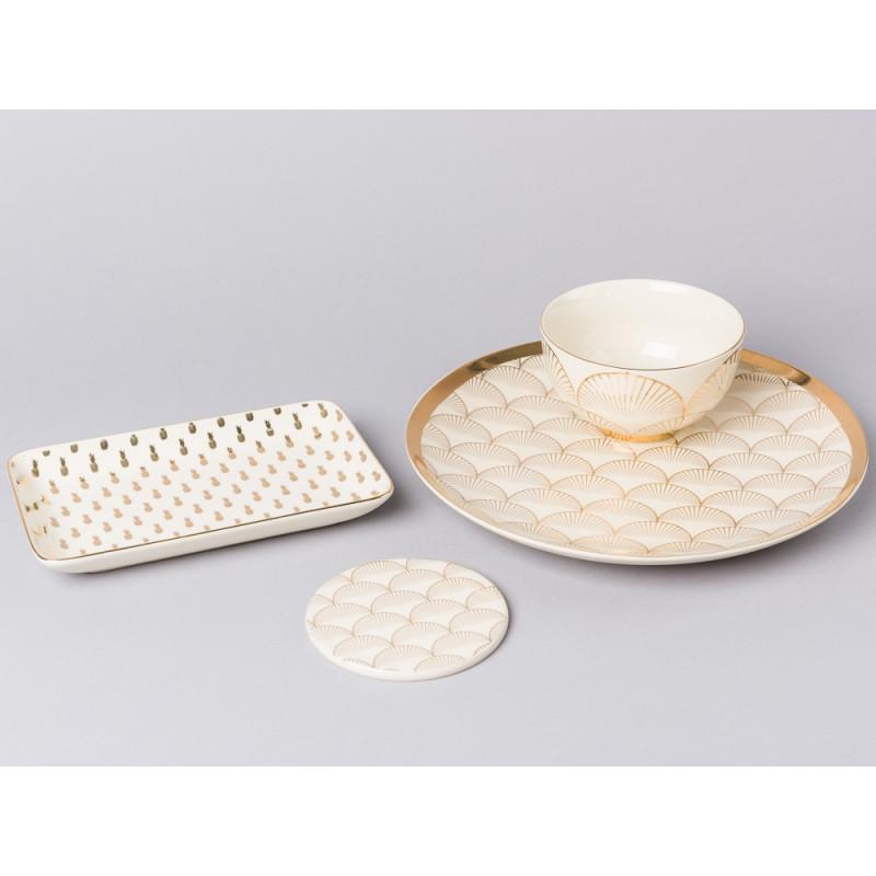 Bloomingville Geschirr Aruba mit Goldrand Tablett Teller Kuchenteller Schale und Untersetzer aus Keramik mit Ananas und Fächer Design in gold