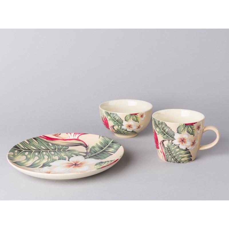 Bloomingville Geschirr Aruba Tasse Kuchenteller Schale und Teller aus Keramik in creme beige mit Blüten und Palme