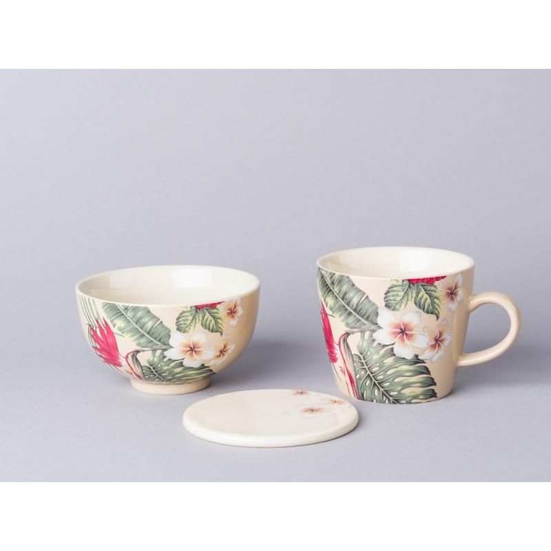 Bloomingville Geschirr Aruba Tasse Schale und Untersetzer Teller aus Keramik in creme beige mit Blumen Palme