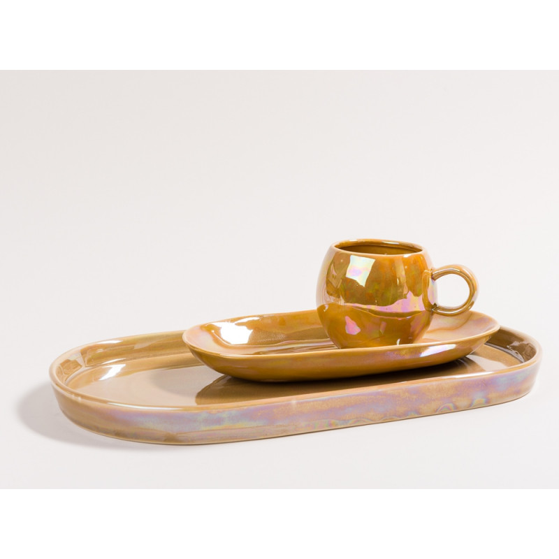 Bloomingville Geschirr Paula Art Deco Tasse Teller Tablett braun orange