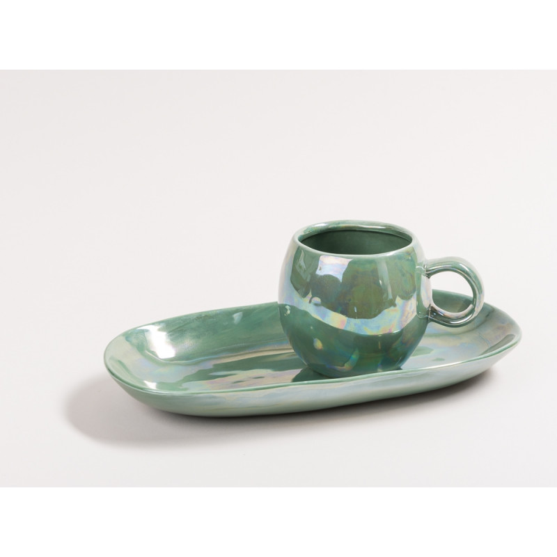 Bloomingville Geschirr Paula Art Deco Tasse Teller Tablett grün metallic