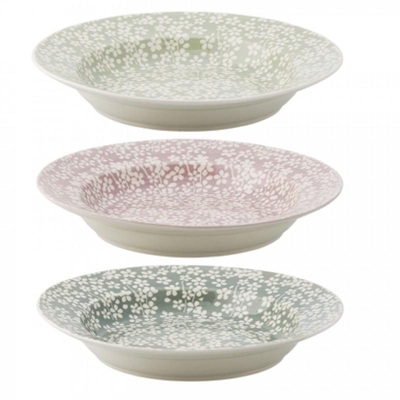 Bloomingville Geschirr Seeke Suppenteller mit weißen Blumen in grün und rosa