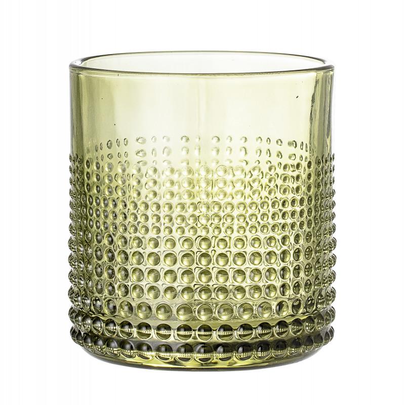 Bloomingville Glas Grün Punkte Struktur spülmaschinenfest grünes Trinkglas für 300 ml