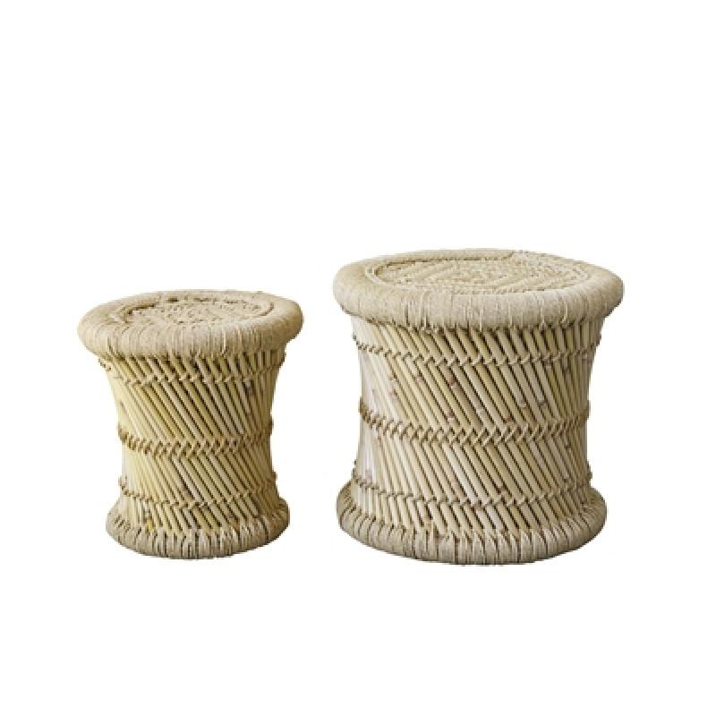 Bloomingville Hocker Set Terrain aus Bambus natur auch als Beistelltisch nutzbar