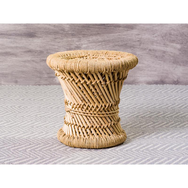 Bloomingville Hocker Terrain klein aus Bambus natur auch als Beistelltisch verwendbar 30 cm hoch 30 cm Durchmesser