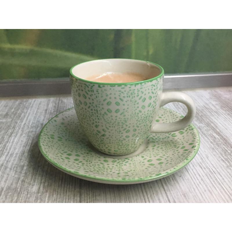 Bloomingville Isabella Espresso Tasse mit Untertasse Keramik Geschirr Grün Creme im Detail