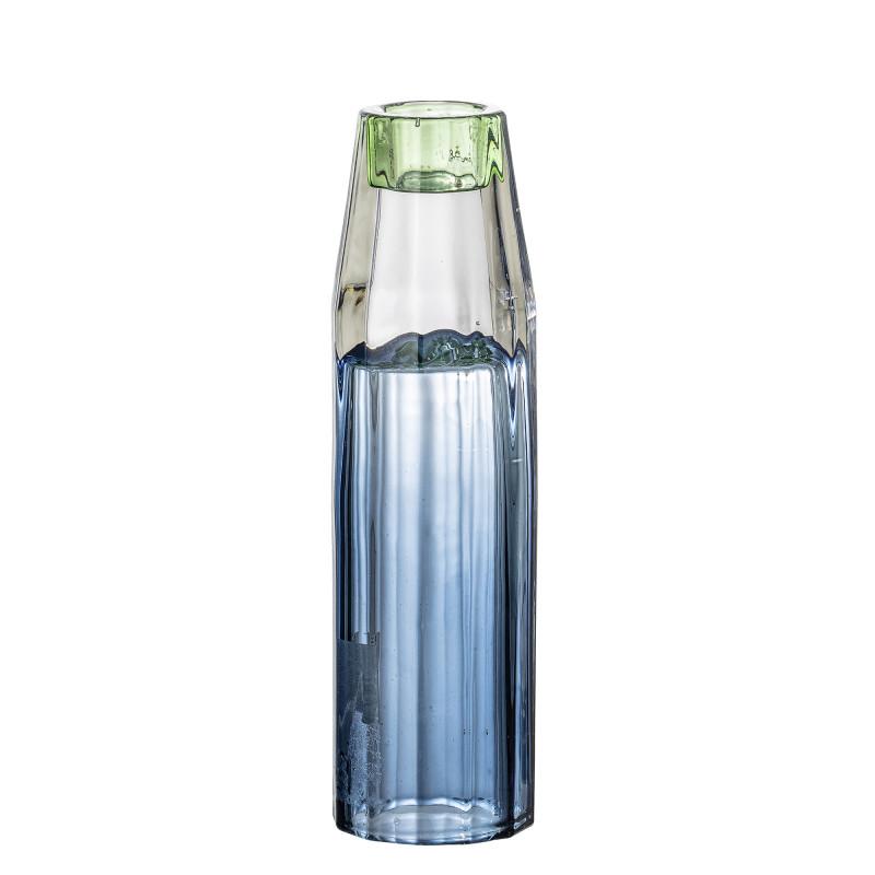 Bloomingville Kerzenhalter Blau aus Glas groß für 1 Kerze Höhe 17 cm auch als Vase für Blumen zu verwenden