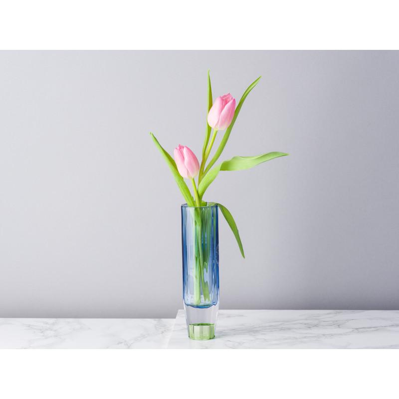 Bloomingville Kerzenhalter Blau Grün aus Glas groß für 1 Kerze Höhe 17 cm auch als Vase für zu verwenden Blumenvase für eine Blume modern mit Tulpe dekoriert