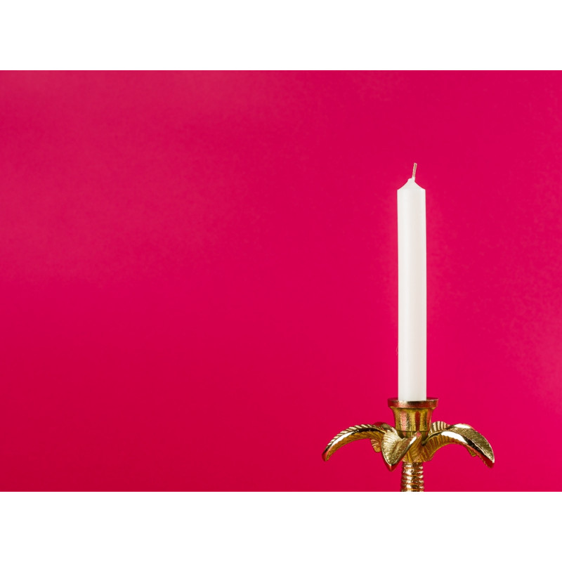 Bloomingville Kerzenhalter gold Palme mit Kerze Palmenblätter im Detail
