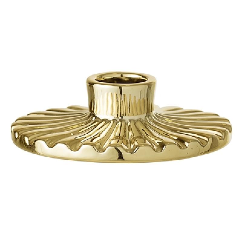 Bloomingville Kerzenhalter gold rund für eine Kerze aus Porzellan