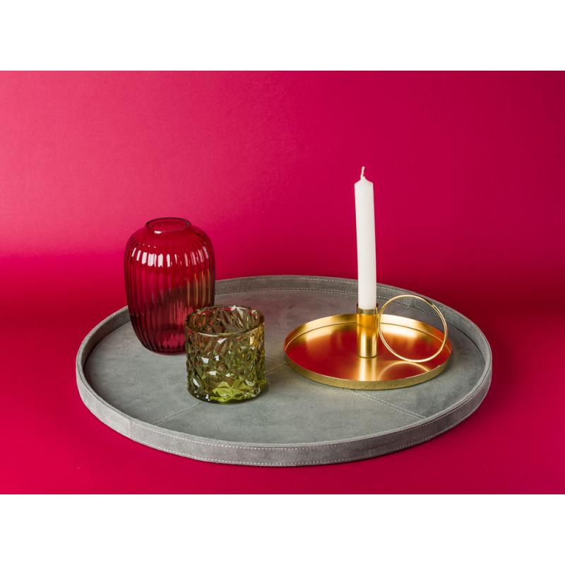Bloomingville Kerzenhalter gold rund mit Griff aus Metall auf Wildleder Tablett Vase Glas