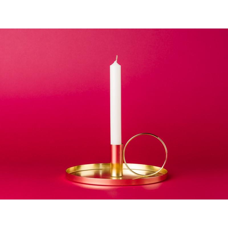 Bloomingville Kerzenhalter gold rund mit Griff aus Metall Kerzenständer mit Kerze