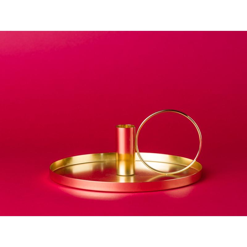 Bloomingville Kerzenhalter gold rund mit Griff aus Metall