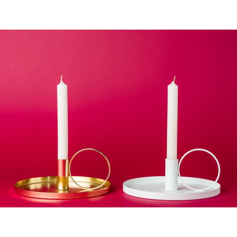 Bloomingville Kerzenhalter gold und weiß rund Kammerleuchte Kerzenständer