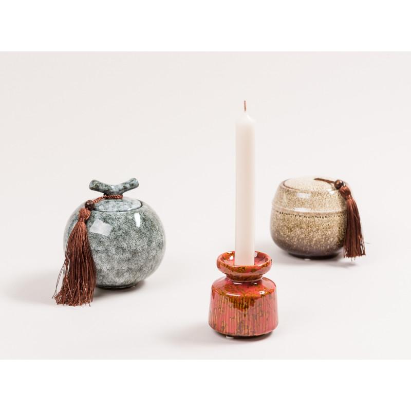 Bloomingville Kerzenhalter rot Keramik Dose Deckel mit Griff und Bommel schwarz grau braun creme Schmuckdose