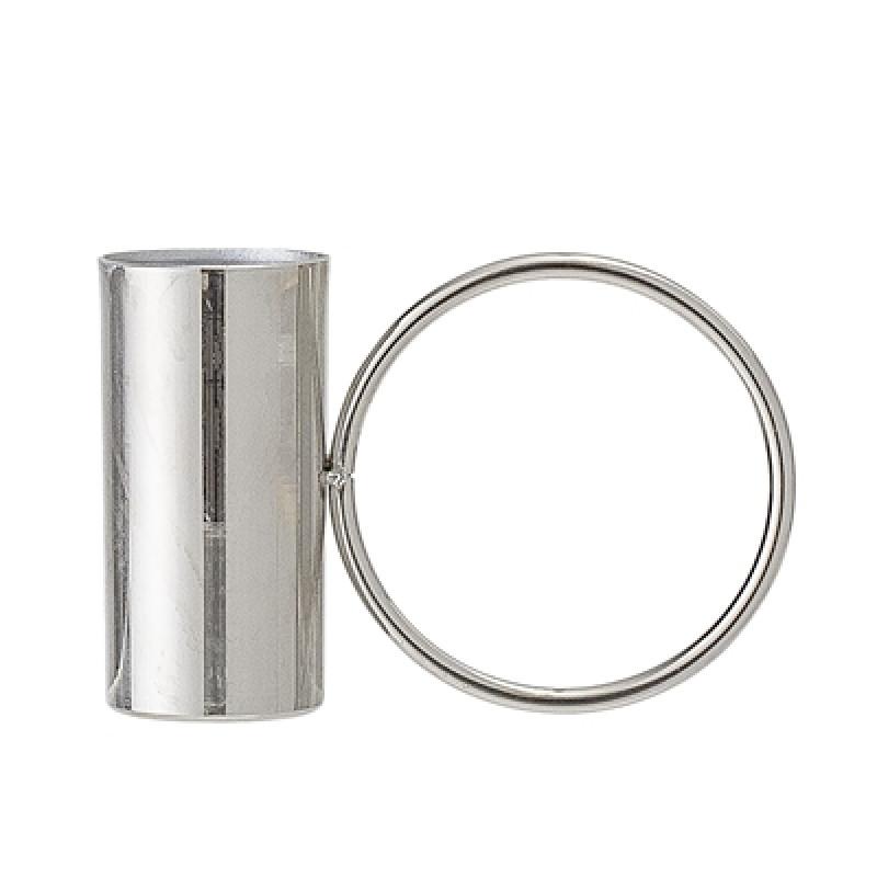 Bloomingville Kerzenhalter silber mit Ring Kerzenständer aus Metall für eine Kerze
