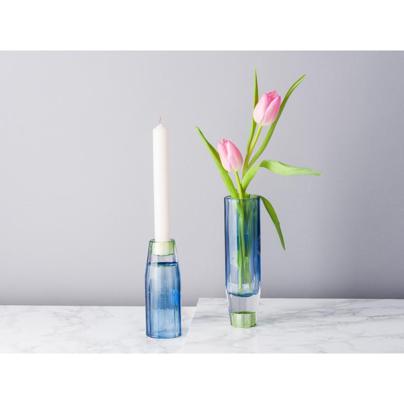 Bloomingville Kerzenhalter Vase Blau Grün aus Glas groß und klein für 1 Kerze oder Blumenvase für eine Blume
