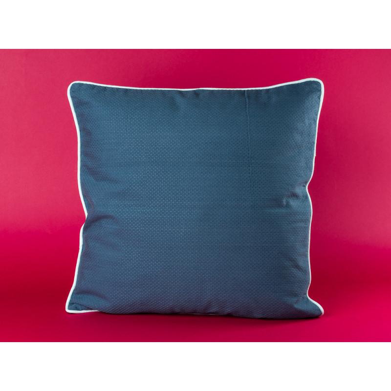Bloomingville Kissen blau mit weißem Keder aus Baumwolle