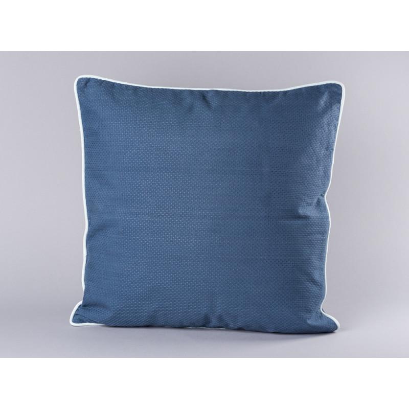 Bloomingville Kissen blau mit weißem Keder aus Baumwolle inklusive Füllung 50x50