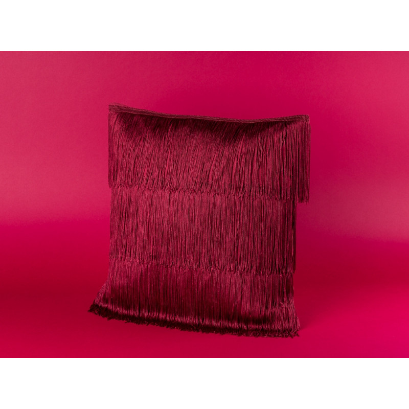 Bloomingville Kissen bordeaux rot mit Fransen im Art Deco Design Baumwolle inklusive Inlet 40x40