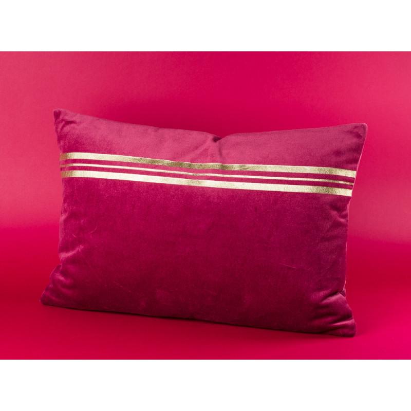 Bloomingville Kissen bordeaux rot mit Streifen in gold im Art Deco Design Baumwolle inklusive Inlet 40x60